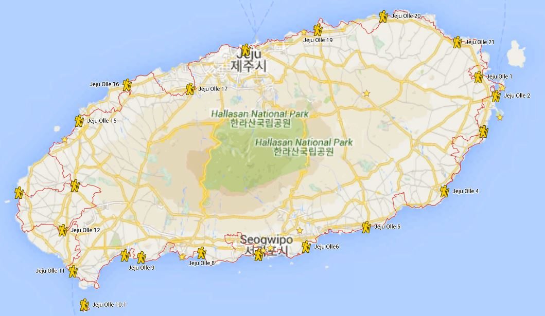 Map of Jeju Olle Trails
