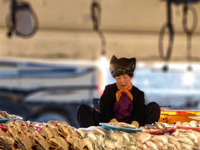 Lady selling dried fish at the 5 day market
