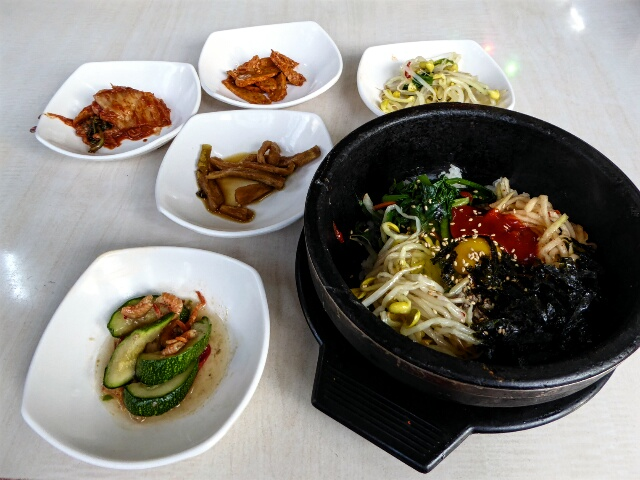 2nd night - Bibimbap, rice and vegetables in a hot earthenware bowl