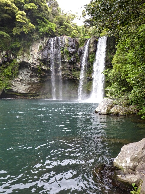 Chonjiyeon Falls, 20 meters high, is on the edge of town
