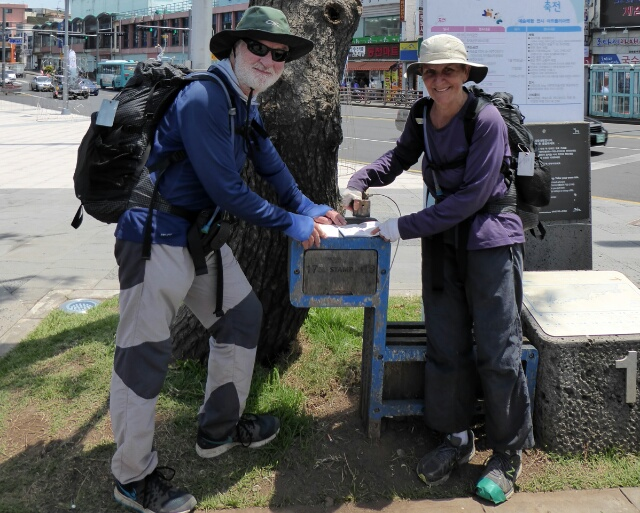 We collect our final stamp after about 400km and 23 days having circumnavigated Jeju Island