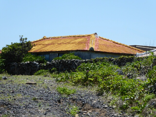 Typical Gapa-do house protected from strong winds by a stone wall