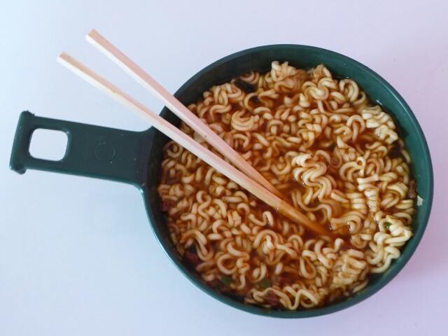 Korean packet noodles for dinner, same for breakfast - taste OK, light to carry