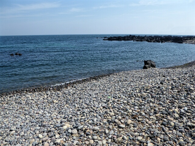 Waves on the pebble beach make a pleasant sound