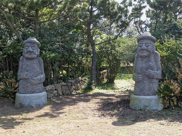 "Stone ""Grandfathers"" placed outside of gates for protection against demons"