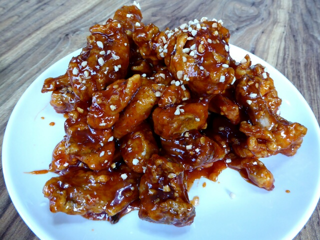 Yangnyeom Chicken - covered in a spicy sticky sauce