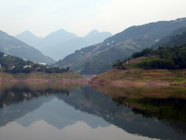 Mountains reflected in Shennong Stream