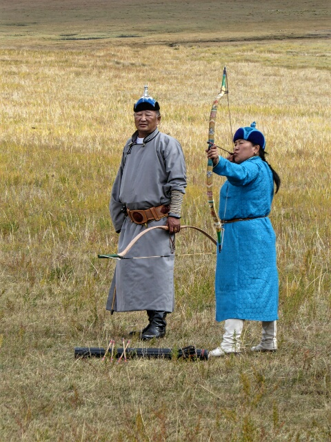 The woman won the archery competition