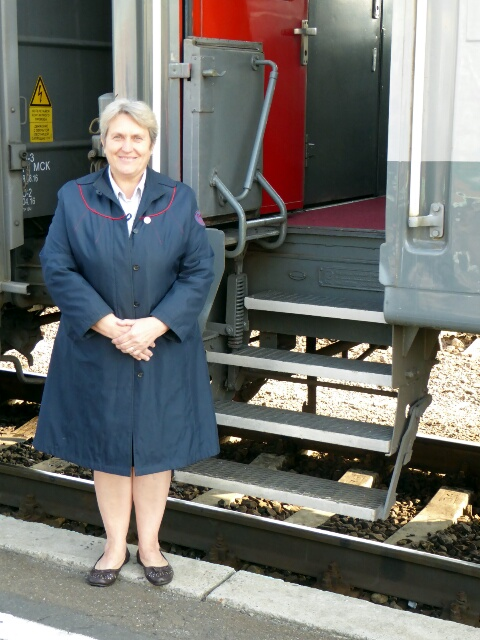 Galina, one of our wagon conductors, makes sure everyone is on board