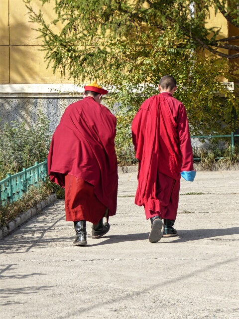 Monks return to the temple