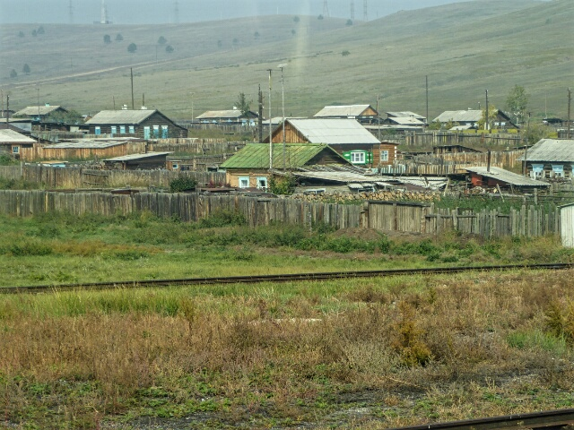 Our first sight of Siberia - a small village beside the railway tracks