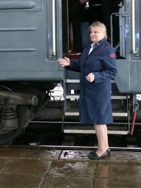 Tatiana, our wagon conductor, welcomes us on board Tzar's Gold train