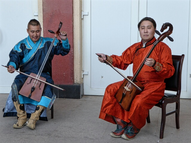 A welcome to Mongolia with traditional music at the train station