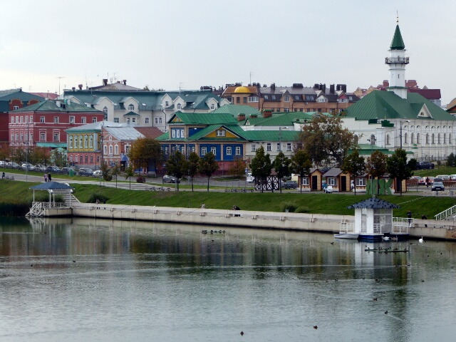 In Tatar Kazan, the wooden houses are brightly painted
