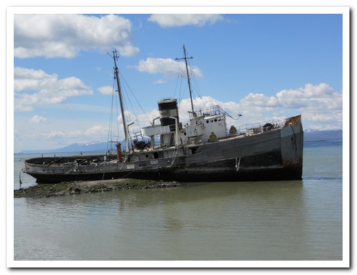 Old steamship rotting in Ushuaia harbour