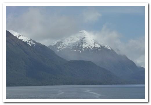 Fresh snow on the peaks all around
