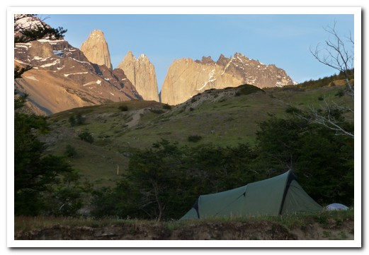Our campsite in the valley below the Torres (Towers)