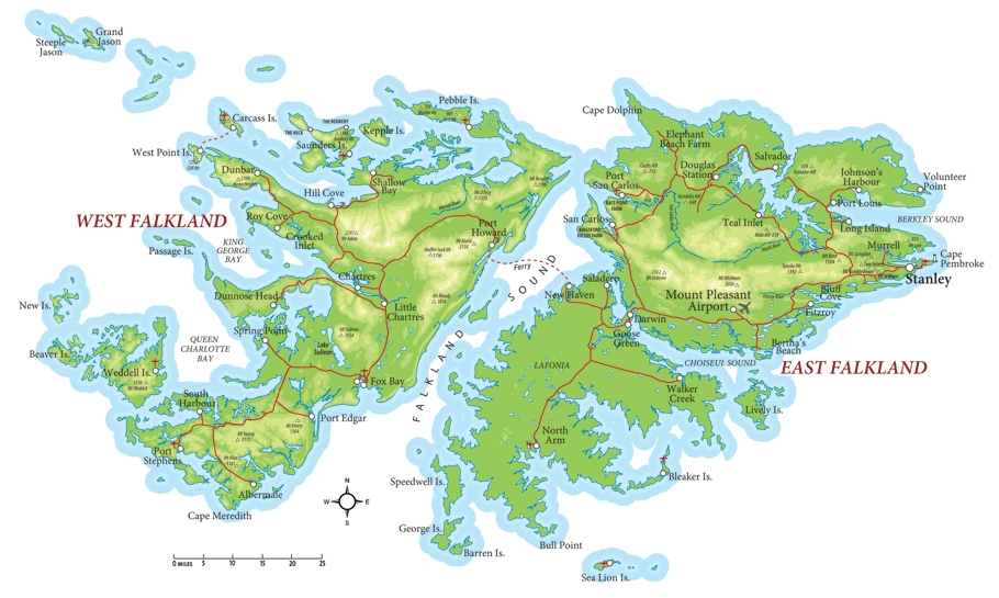 Map of the Falklands