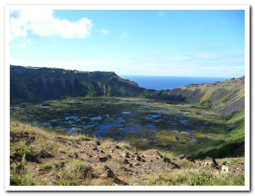 The crater of one of the many extinct volcanoes on the island