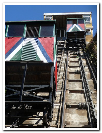 The funicular carriage coming down pulls the other one up