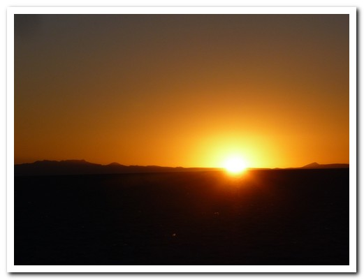 Sun rise over the salt flats