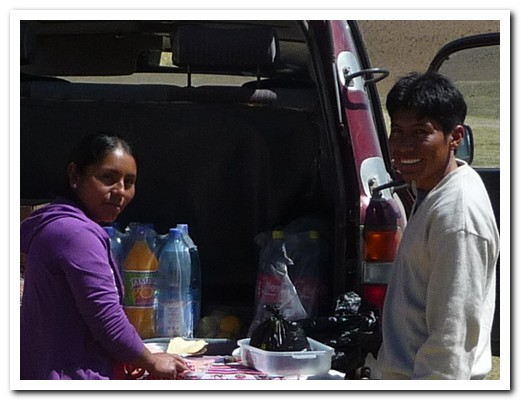 Magali prepares lunch at the back of the landcruiser