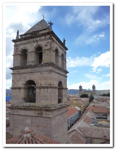 Bell Tower of Iglesia San Francisco with the Cathedral nearby