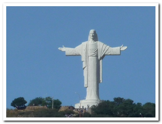 The huge statue of Jesus guards over Cochabamba