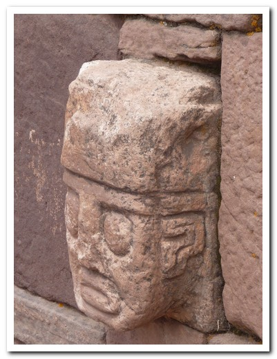 One of the carved heads in the wall of the subterranian temple (note coca leaves in cheek)