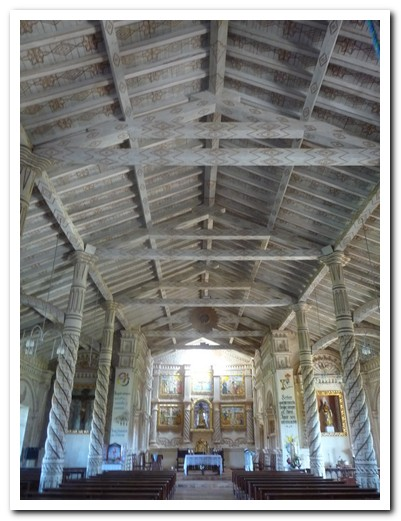 The only church with painted columns, beams and ceiling