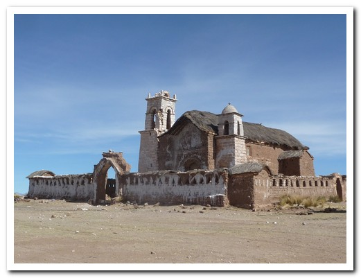 Crumbling adobe church at Ichiga