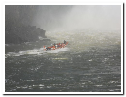 The boat under the falls