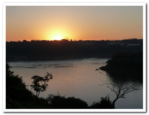 Sunset on the borders of Argentina, Brazil and Paraguay