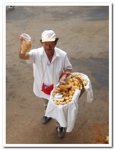 Chipa seller at the Encarnación bus station